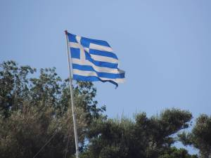 We are in Greece!  This is the flag from the highest point in Symi.