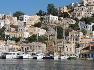 Symi - we are port side of the boat with the green hull.  Ooooh!  Look at my new language!